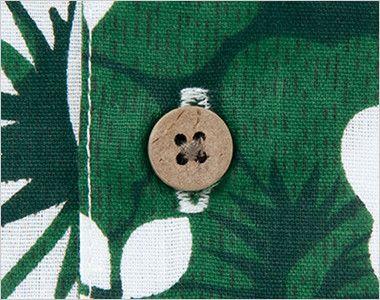 AZ56102 アイトス アロハシャツ(ハイビスカス柄)(男女兼用) おしゃれなヤシの実糸付ボタン