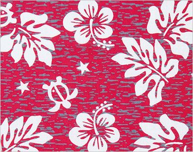 AZ56109 アイトス アロハシャツ(ハワイの夜)(男女兼用) ハイビスカス、海の守り神のホヌ(ウミガメ)、南国感のあるリーフをデザインした柄