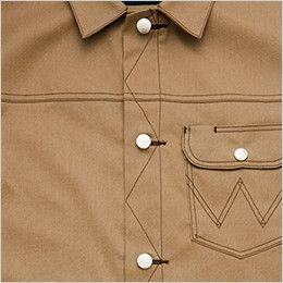 AZ64102 アイトス Wrangler(ラングラー) ボタンジャケット(男女兼用) すっきりとしたフロントデティール