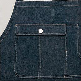 AZ64380 アイトス Wrangler(ラングラー) 胸当てエプロン(男女兼用) 収納力のあるフラップポケット