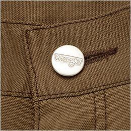 AZ64450 Wrangler(ラングラー) ノータックワークパンツ(男女兼用) ロゴ入りの刻印タックボタン