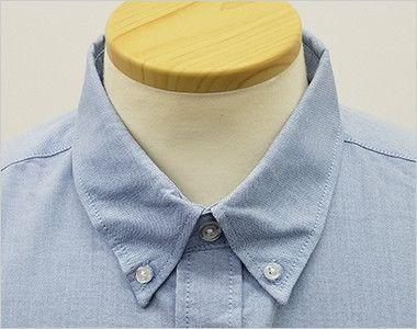 AZ7872 アイトス オックスボタンダウンシャツ/半袖(男性用) きっちりした印象のボタンダウンの襟元