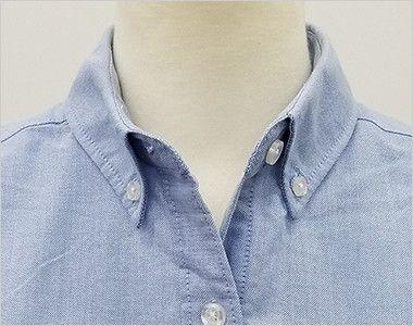 AZ7873 アイトス オックスボタンダウンシャツ/半袖(女性用) 第一ボタンをはずしても開きすぎない安心の襟元