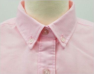 AZ7875 アイトス オックスボタンダウンシャツ/七分袖(女性用) きっちりした印象のボタンダウンの襟元