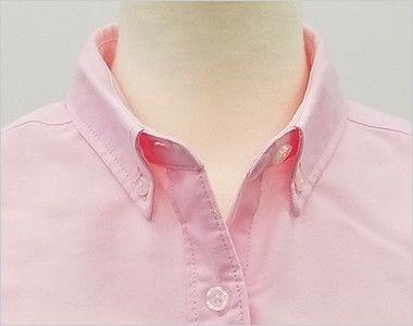 AZ7875 アイトス オックスボタンダウンシャツ/七分袖(女性用) 第一ボタンをはずしても開きすぎない安心の襟元