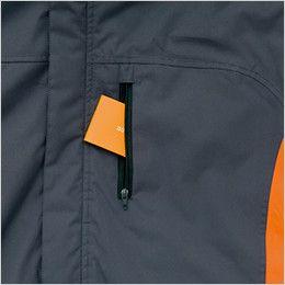 アイトス AZ8471 [秋冬用]業務用 防風防寒ショートコート[フード付・取外し可能] ファスナー付きポケット
