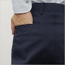 HS2602 アイトス チノパンツ(男性用)脇ゴム ワンタック ポケット(ボタン付き)