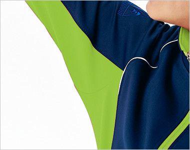 UZL1031 ルコック ジャージ ジャケット(男女兼用) ツートーンカラー スムーズな腕の上げ下げを可能にし、裾が持ち上がらない立体裁断