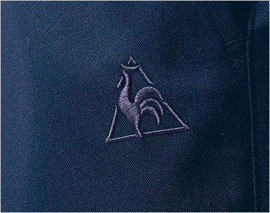 UZL4028 ルコック ジャージ ワンタックスラックスパンツ(女性用) 同系色のロゴ刺繍が高級感を漂わせます