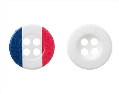 UZL8023 ルコック ボーダーニットポロシャツ(男女兼用) 2種類のボタンを使用。アクセントにトリコロール柄ボタン。