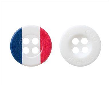 UZL8029 ルコック 長袖ドライポロシャツ(男女兼用) 2種類のボタンを使用。アクセントにトリコロール柄ボタン。