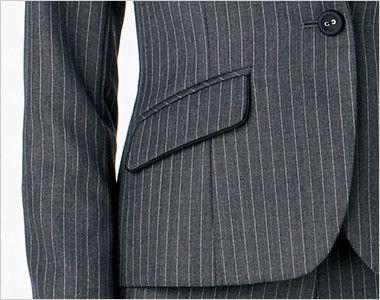 BONMAX AJ0237 ベガ 5つの優れた機能付き!寒色系のピンストライプのジャケット フラップポケット付き