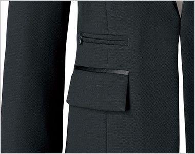 BONMAX AJ0243 [通年]インプレス 前ホック留めのジャケット 無地 フラップポケット付き