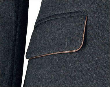 BONMAX AJ0260 [通年]トラッドパターン ジャケット 無地 パイピングが施されたフラップ付きポケット