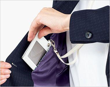 BONMAX AJ0268 ポリジン ジャケット [チェック/静電気防止/抗菌防臭] ネームホルダー等が入れやすい内ポケット