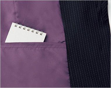 BONMAX AJ0273 [通年]ポリジン ジャケット [ストライプ/抗菌防臭] メモ帳が入る大きさの内ポケット付き