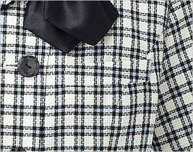 AJ0825 BONMAX/ハーティー オーバーブラウス(リボン付) チェック ポケット付き