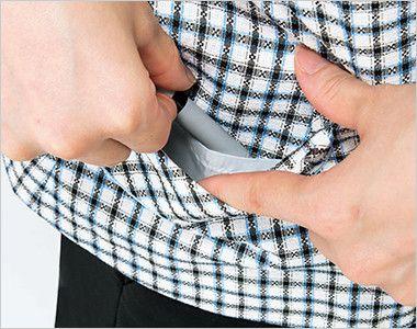 [在庫限り/返品交換不可]AJ0829 BONMAX/ジェニー オーバーブラウス(リボン付き) チェック 挟み込みポケット(右側小分けポケット付)