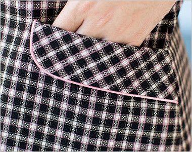 [在庫限り/返品交換不可]AJ0829 BONMAX/ジェニー オーバーブラウス(リボン付き) チェック ポケットのカラーパイピング