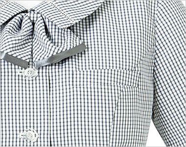 BONMAX AJ0830 [春夏用]ケイティー リボン付きオーバーブラウス チェック ポケット付き