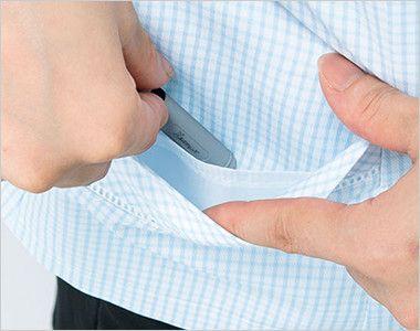 BONMAX AJ0830 [春夏用]ケイティー リボン付きオーバーブラウス チェック 挟み込みポケット(右側小分けポケット付)
