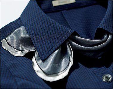 BONMAX AJ0831 [春夏用]ケイティー オーバーブラウス チェック スカーフ付き 取り外し可能なオーガンジーリボン付き