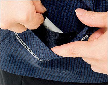 BONMAX AJ0831 [春夏用]ケイティー オーバーブラウス チェック スカーフ付き 挟み込みポケット(右側小分けポケット付)