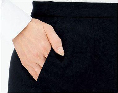 BONMAX AS2301 [通年]ハウンドトゥースニット セミタイトスカート ニット 無地 斜めポケット