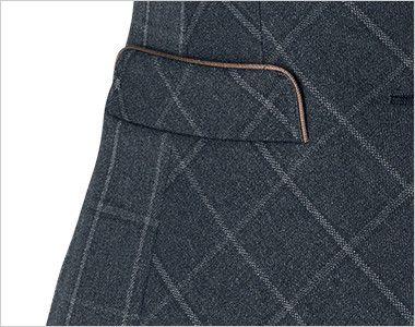 BONMAX AV1265 [通年]チェック柄ベスト[トラッドパターン] パイピングが施されたフラップ付きポケット