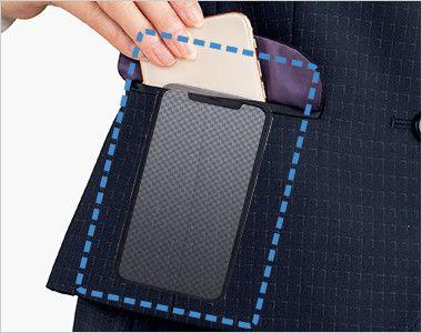 BONMAX AV1269 ポリジン ベスト [チェック/静電気防止/抗菌防臭] スマホが飛び出しにくい仕様。ポケット内部の袋布は点線のように大きく、上部に空間を作ることでスマホがすっきり収まります