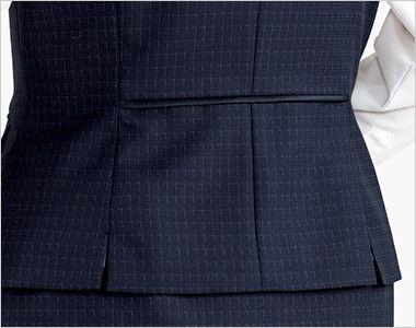 BONMAX AV1269 ポリジン ベスト [チェック/静電気防止/抗菌防臭] 裾のベンツで腰まわりゆったり。腰位置を高く見せるウエストパイピング付き。