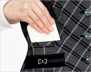 BONMAX AV1272 [通年]ポリジン ベスト[チェック/抗菌防臭] スマホが入る深さのポケット付き