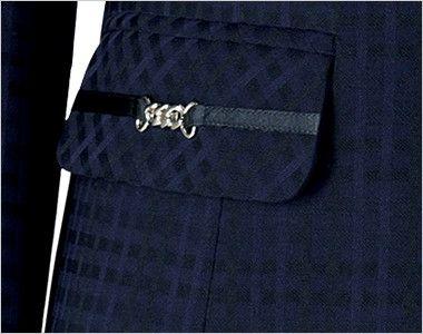 BONMAX BCJ0114 [通年]ニュアンスドビー ジャケット [チェック/ストレッチ] シルバーのビットと黒リボンが華やかな印象のポケット