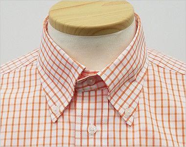 FB4507U FACEMIX グラフチェックシャツ/半袖(男女兼用)ボタンダウン きちんとした印象のボタンダウン