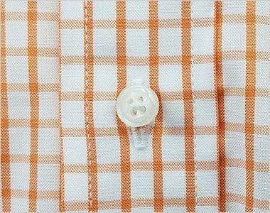 FB4507U FACEMIX グラフチェックシャツ/半袖(男女兼用)ボタンダウン ボタン部分