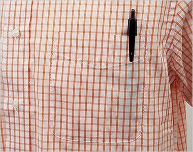 FB4507U FACEMIX グラフチェックシャツ/半袖(男女兼用)ボタンダウン  ポケット付き