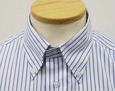 FB4508U FACEMIX ストライプシャツ/長袖(男女兼用)ボタンダウン きちんとした印象のボタンダウンの襟元