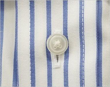 FB4508U FACEMIX ストライプシャツ/長袖(男女兼用)ボタンダウン ボタン部分