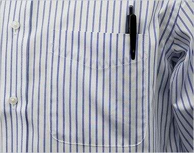FB4508U FACEMIX ストライプシャツ/長袖(男女兼用)ボタンダウン ポケット付き
