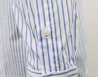 FB4508U FACEMIX ストライプシャツ/長袖(男女兼用)ボタンダウン 腕まくりがしやすい袖ボタン付き