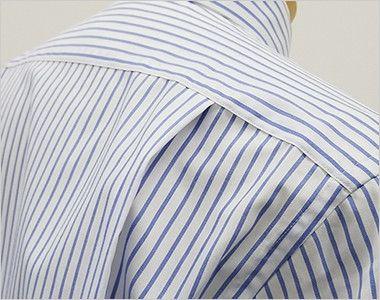 FB4508U FACEMIX ストライプシャツ/長袖(男女兼用)ボタンダウン 動きやすいタック入り