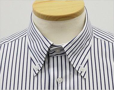FB4509U FACEMIX ストライプシャツ/半袖(男女兼用)ボタンダウン きちんとした印象のボタンダウンの襟元