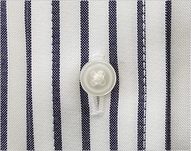 FB4509U FACEMIX ストライプシャツ/半袖(男女兼用)ボタンダウン ボタン部分
