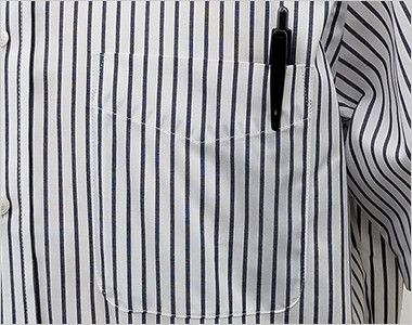 FB4509U FACEMIX ストライプシャツ/半袖(男女兼用)ボタンダウン  ポケット付き