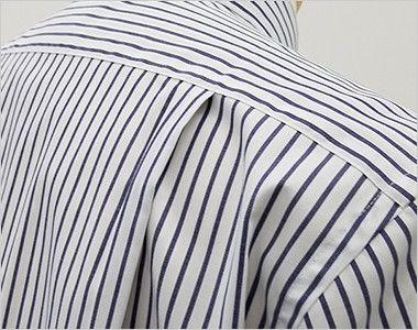 FB4509U FACEMIX ストライプシャツ/半袖(男女兼用)ボタンダウン 動きやすいタック入り
