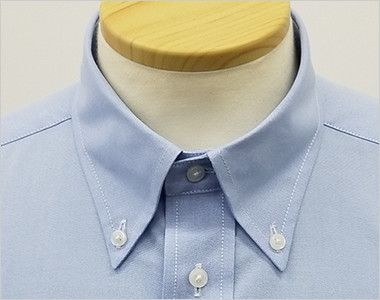 FB4510U FACEMIX オックスシャツ/長袖(男女兼用)無地ボタンダウン きちんとした印象のボタンダウンの襟元
