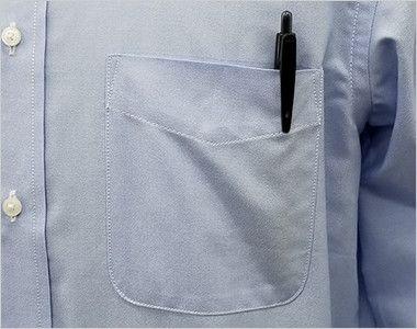 FB4510U FACEMIX オックスシャツ/長袖(男女兼用)無地ボタンダウン ポケット付き