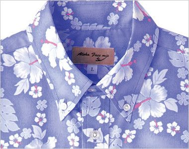 FB4521U FACEMIX アロハシャツプチハイビスカス柄(男女兼用)ボタンダウン きちんとした襟元のボタンダウン