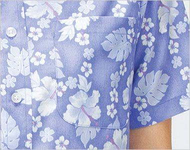 FB4521U FACEMIX アロハシャツプチハイビスカス柄(男女兼用)ボタンダウン  ポケット付き
