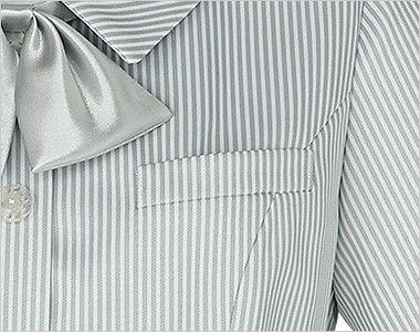 KK7813 BONMAX/リエート オーバーブラウス(サテンリボン付き) ストライプ ポケット付き